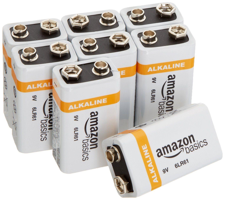 8153m3nsALL. SL1500  - AmazonBasics 9 Volt Everyday Alkaline Batteries (8-Pack)