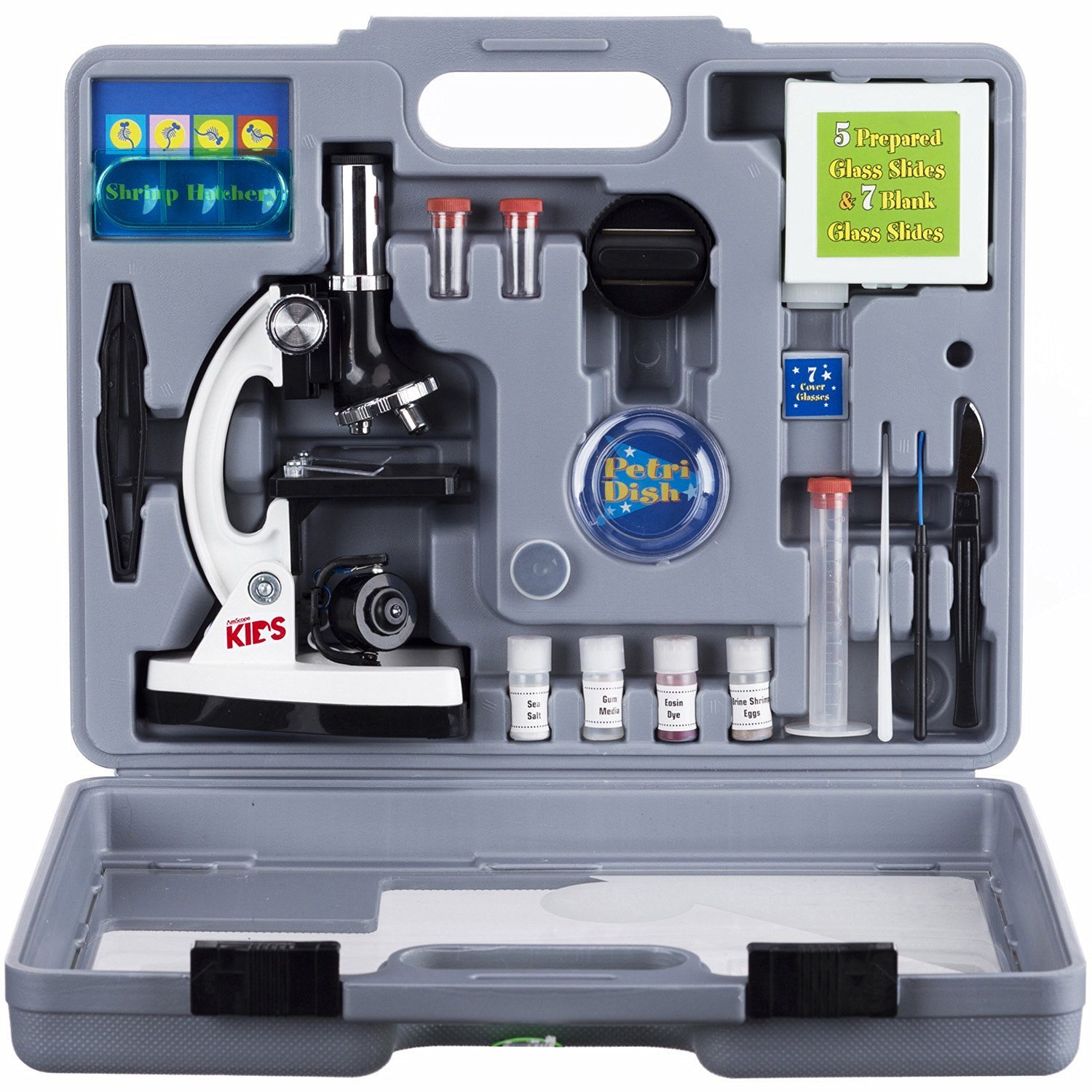 81FNVyOpXfL. SL1500  - AmScope M30-ABS-KT2-W Beginner Microscope Kit, LED and Mirror Illumination, 300X, 600x, and 1200x Magnification, Includes 52-Piece Accessory Set and Case, White