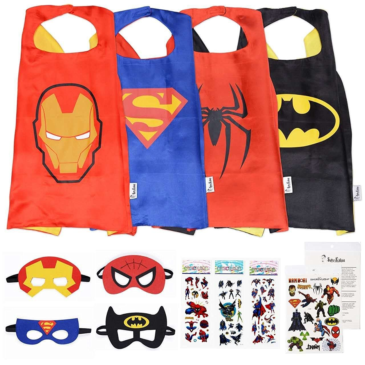 71djLn8ubkL. SL1280  - Superhero Cape and Mask Costumes For Kids SET - 4 Capes, 4 Masks, Stickers and Tattoos