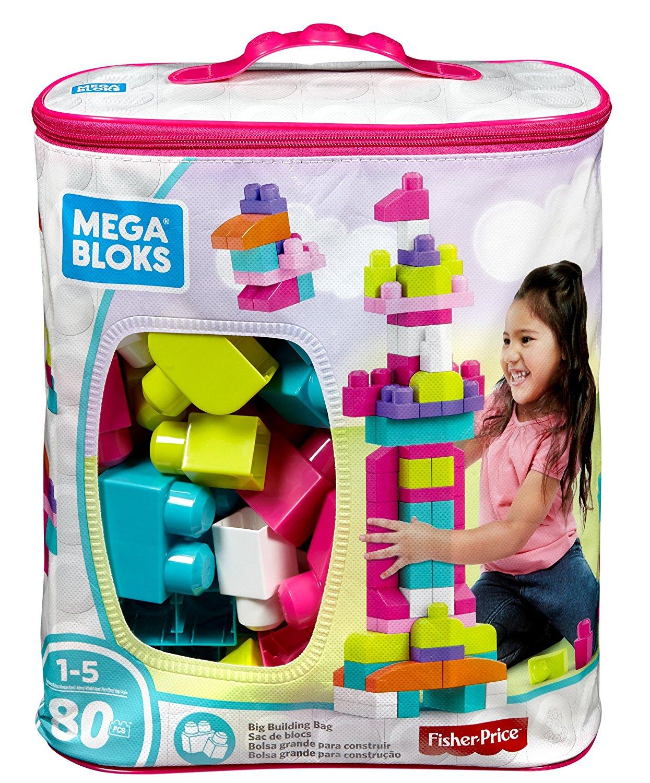 91YzbFWM64L. SL1500  - Mega Bloks DCH62 First Builders Big Building Bag, 80-Piece, Pink