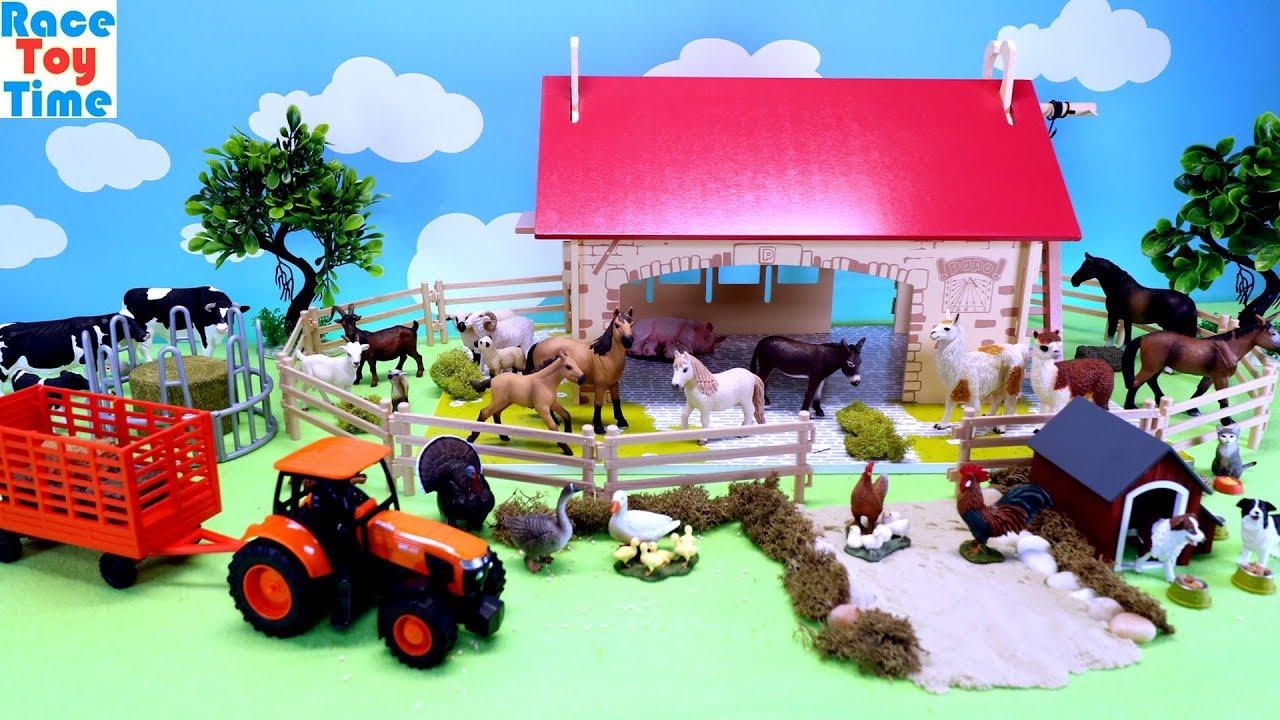 Farm Animals Toys in Fun Barn Playset Learn Animal Names - Farm Animals Toys in Fun Barn Playset - Learn Animal Names