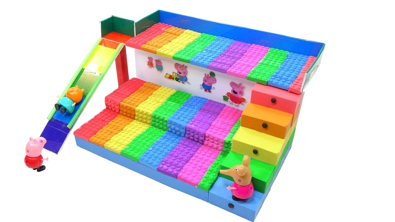 Peppa Pig Toys and How To Make 3 Storey Bed Stairs w Sliding Bridges Creative Fun for Kids - Peppa Pig Toys and How To Make 3 Storey Bed Stairs w Sliding Bridges - Creative Fun for Kids