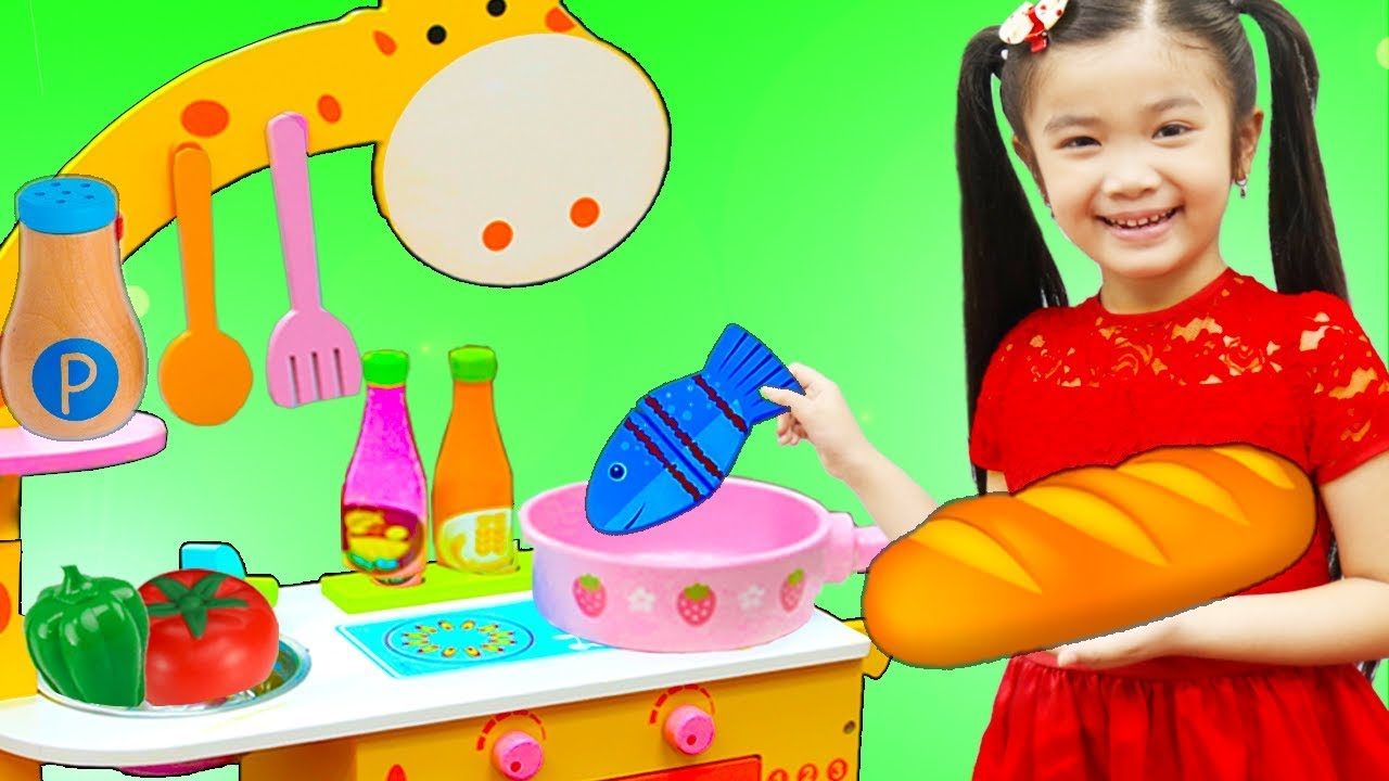 Hana Pretend Play w Cute Animal Kitchen Cooking Toy Kids Playset - Hana Pretend Play w/ Cute Animal Kitchen Cooking Toy Kids Playset