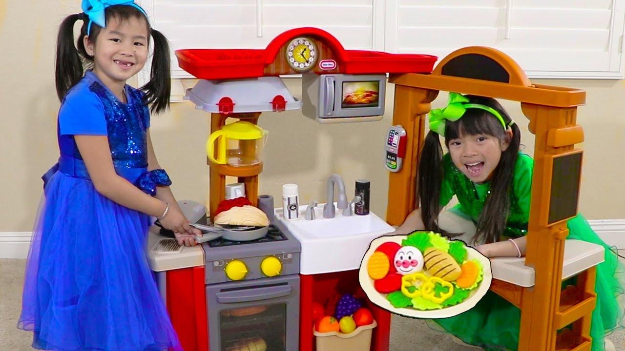 vbp 12026 Jannie Emma Pretend Play w Kitchen Restaurant Cooking Kids Toys - Jannie & Emma Pretend Play w/ Kitchen Restaurant Cooking Kids Toys