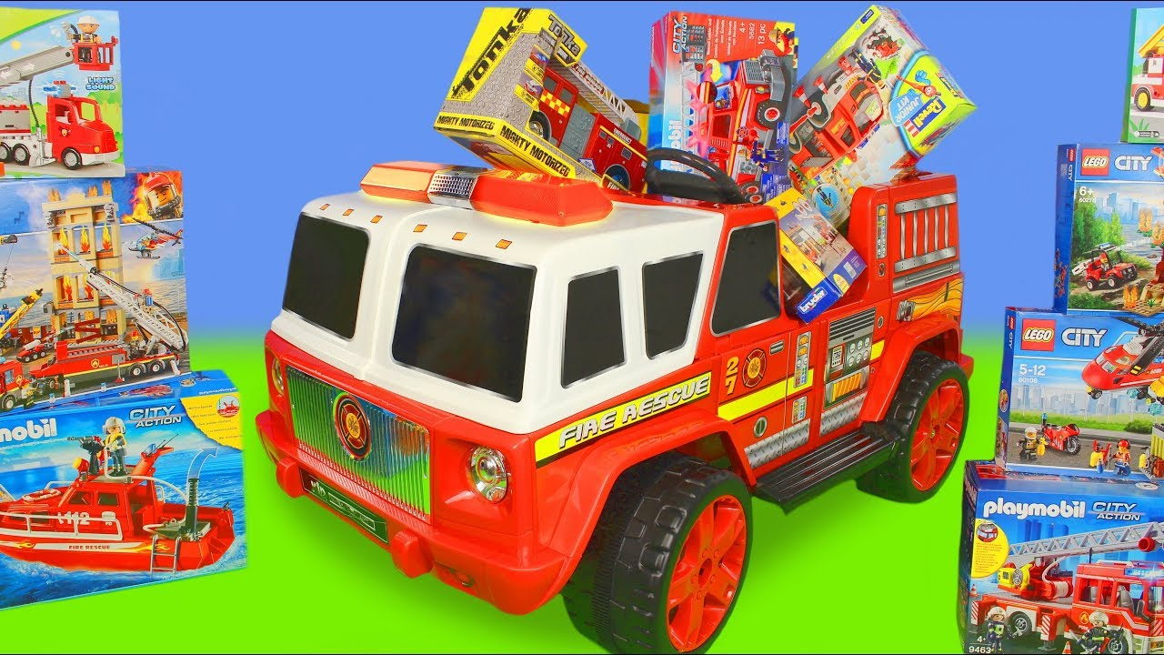 Fire Truck Ride On Surprise Toy Vehicles Lego Construction Cars Toys Play for Kids - Fire Truck Ride On Surprise: Toy Vehicles, Lego Construction Cars & Toys Play for Kids