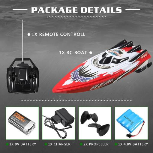 RC Boat km h High Speed Racing Rechargeable Batteries Remote Control Boat for Children Toys Kids