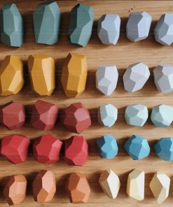 Colorful Stone Building Blocks Jengle Educational Toys Wood Balancing Stacked Stones Creative Nordic Style Stacking Game