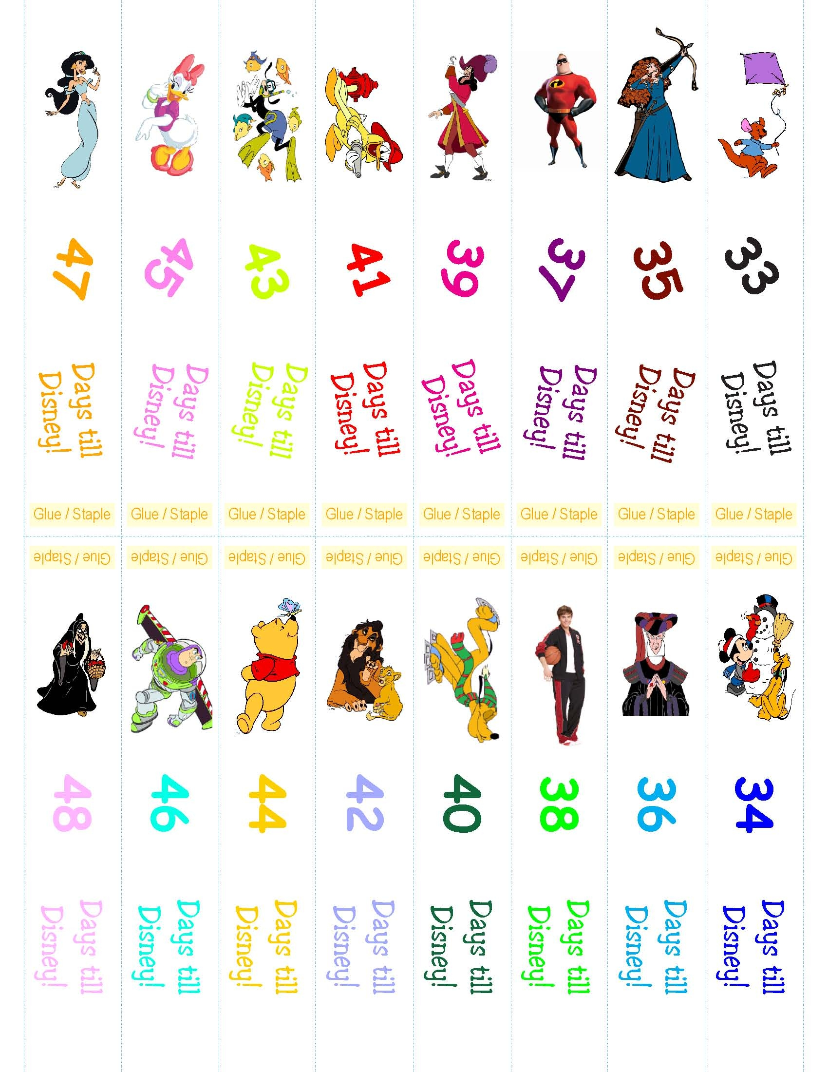 image about Disney Countdown Printable referred to as Disney Countdown Ring