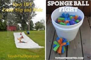 slip-and-slide sponge ball fight