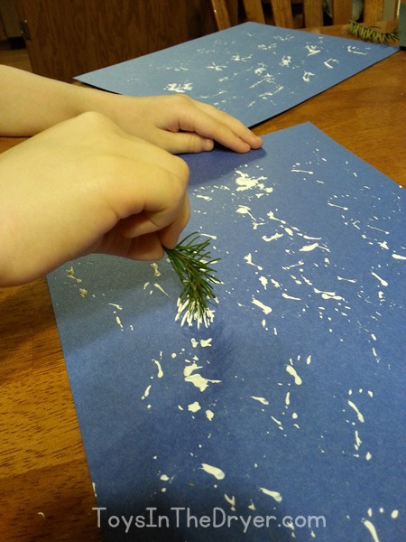 snowflakes made with pine needles