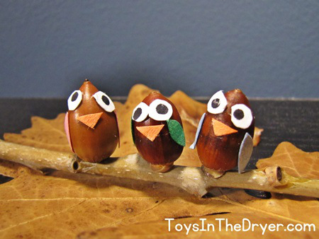 acorn crafts, acorn owls