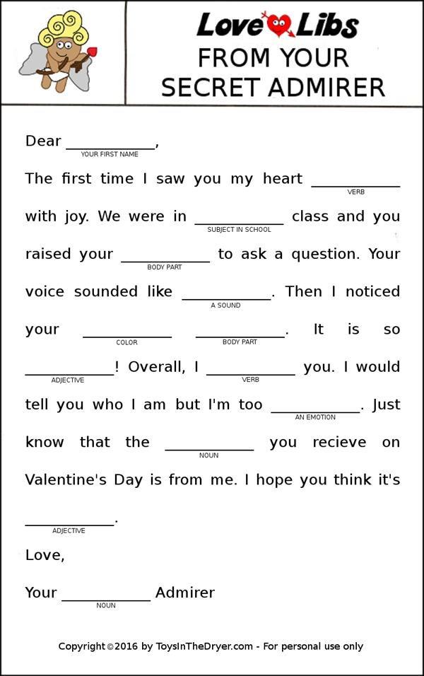 picture about Printable Mad Libs Sheets for Adults referred to as Absolutely free Printable Appreciate Libs Valentines - Toys Within The Dryer