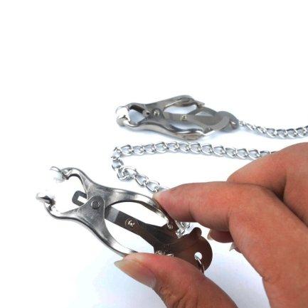 調教蝴蝶型乳夾連不鏽鋼鏈
