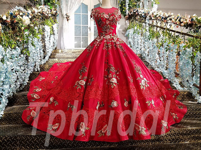 Red Ball Gown Bridal Dress Train Prom Party Dress For Sale