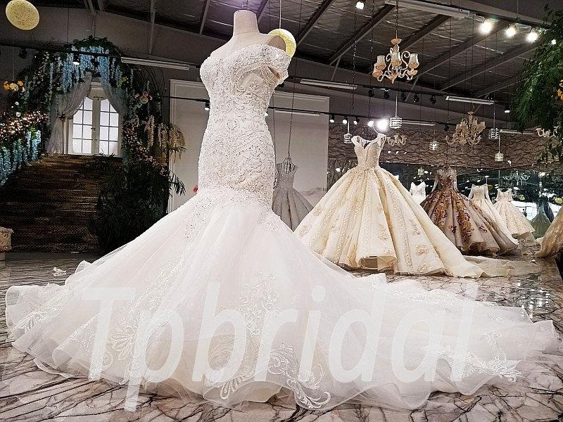 Mermaid Wedding Dress Plus Size Custom Made With Train