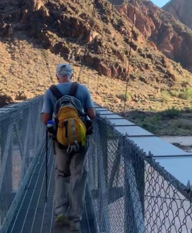 Tom crossing Silver Bridge