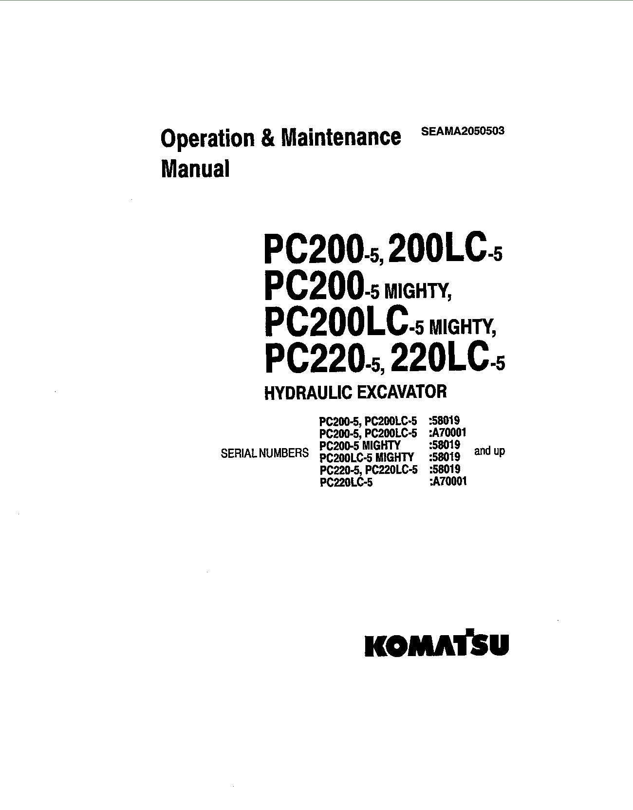 Komatsu PC200-5 Operation and Maintenance Manual Komatsu