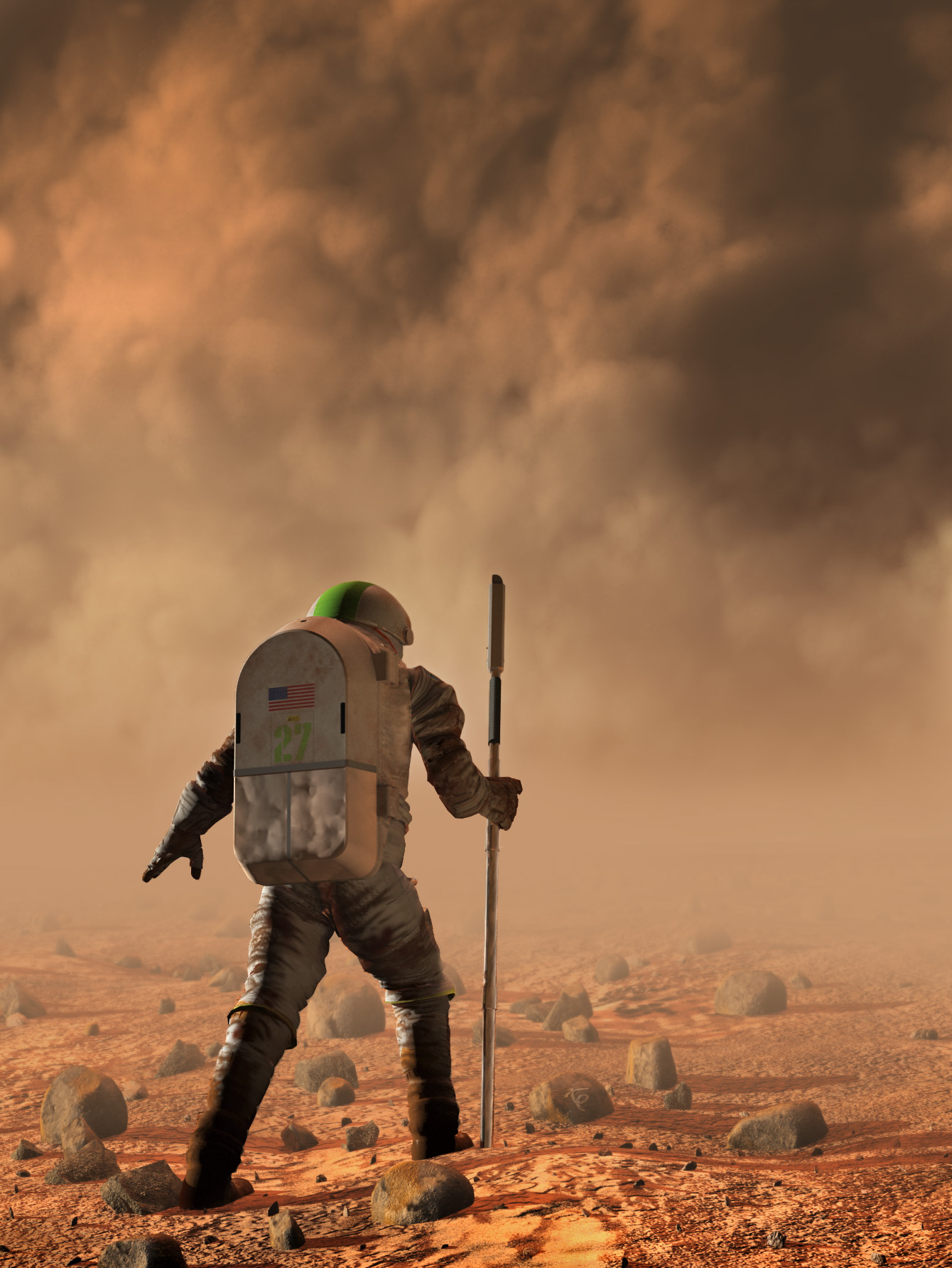 "A lone Astronaut confronts the fierce winds and fine sands of a major Martian dust storm. I seem to return to this theme regularly- I have no idea why, other than its a very visual embodyment of the ""man against nature"" theme present in all tales of exploration....  The landscape and astronaut were modeled and rendered in Lightwave 7.5. The sandstorm and depth of field effect were executed in Photoshop CS. Thanks for looking!"