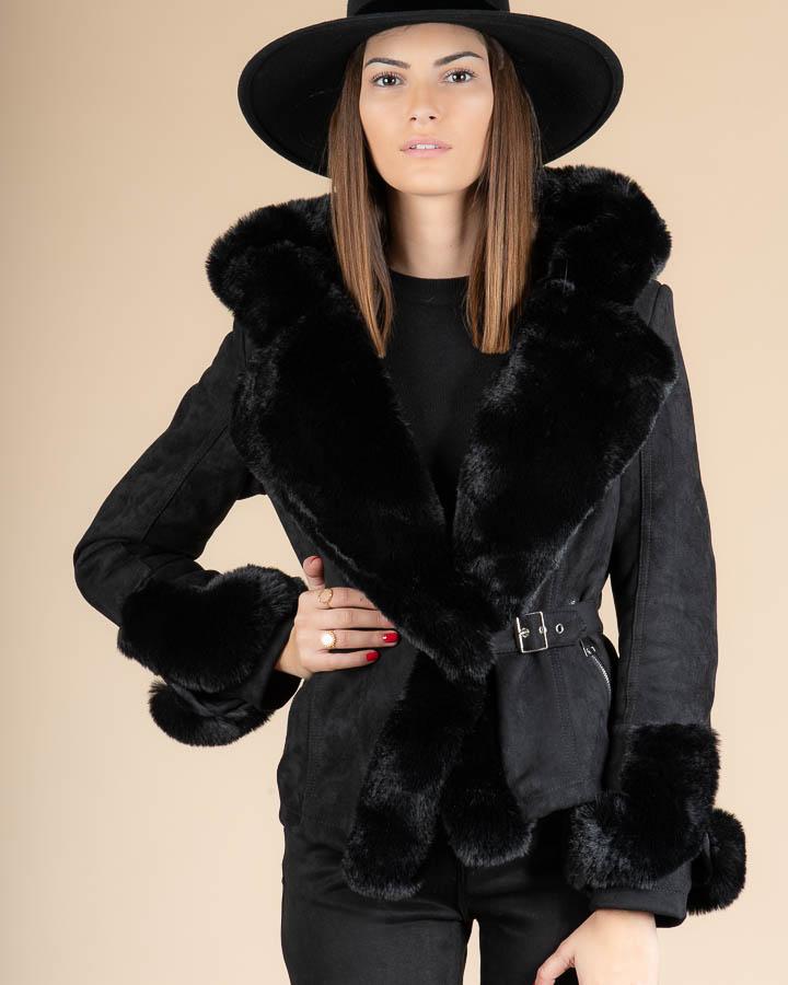 Veste courte en fausse fourrure pour femme en couleur noire