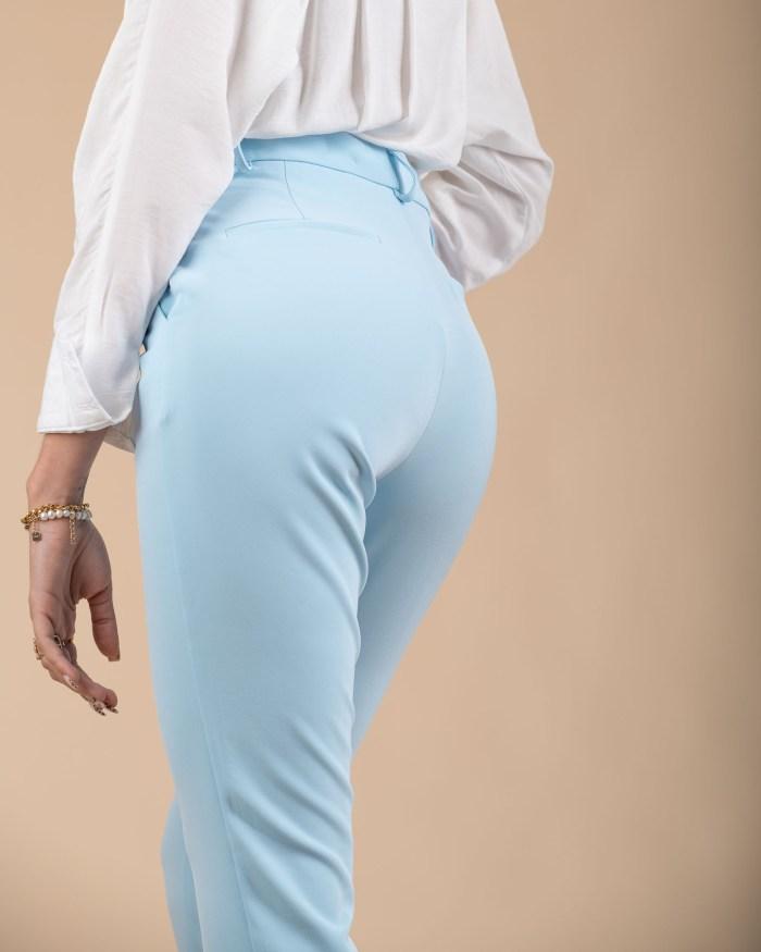 Pantalon taille haute en couleur pastel