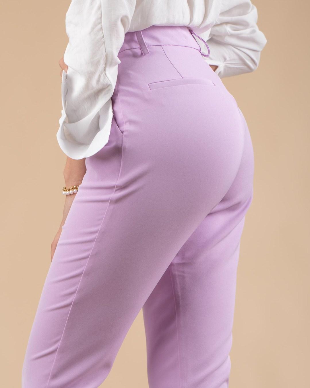 Pantalon tailleur taille haute lilas