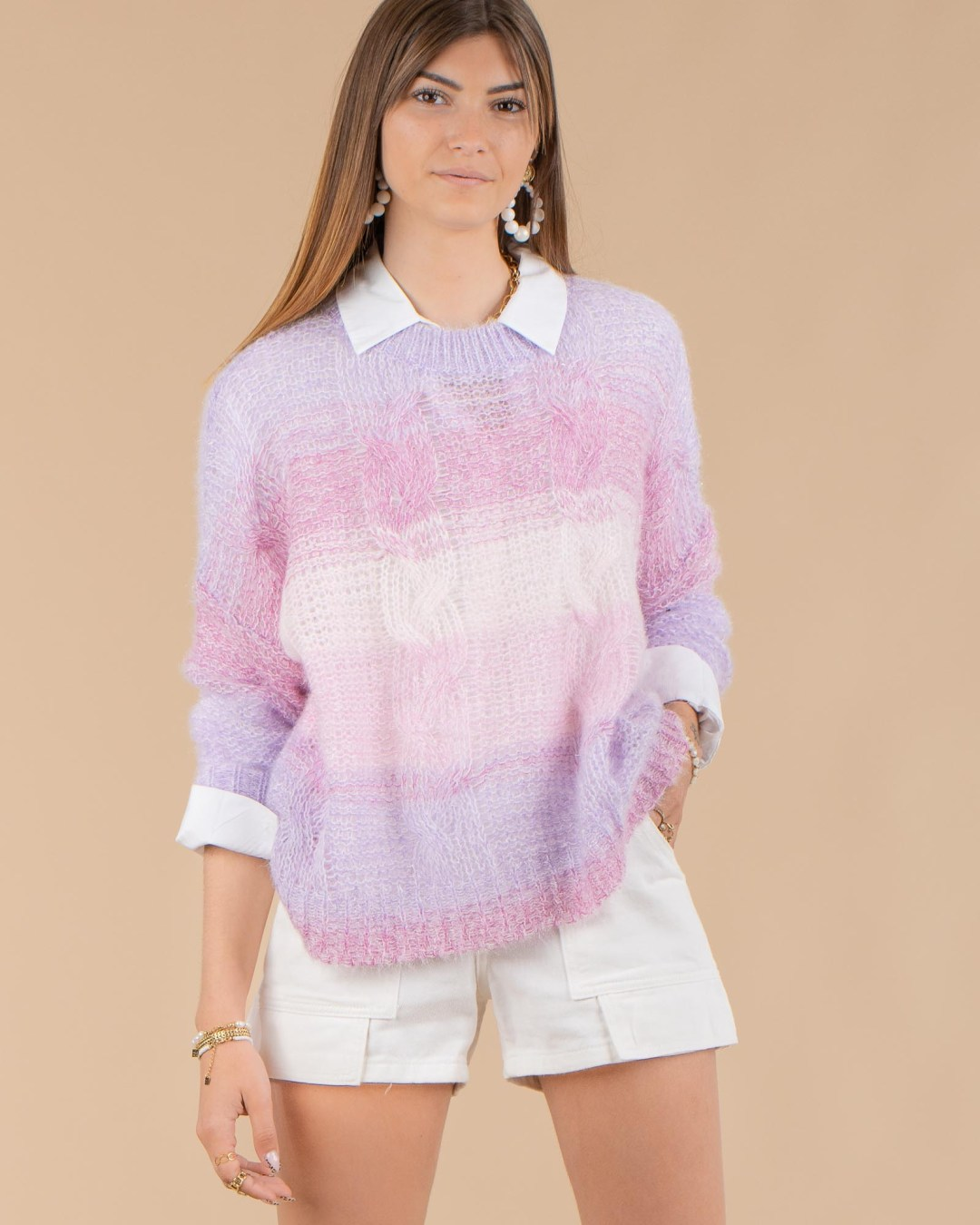 Pull ajouré Tie and Dye lilas