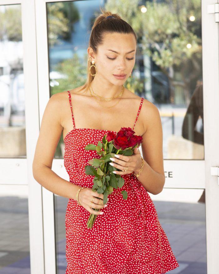 Robe courte rouge femme