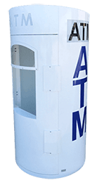 Mobile Mini Round ATM Security Enclosure made of steel with locks.