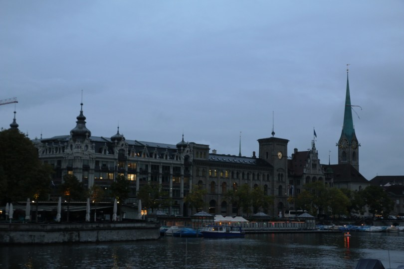 Zurich, CH river front in the evening
