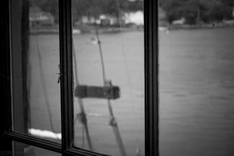 Old Pier Window In Black And White