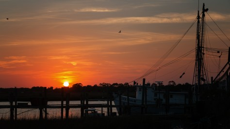 Sunset And Fishing Boats