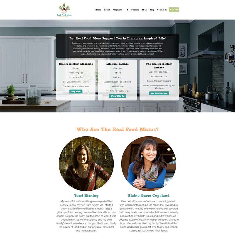 Real Food Mum web site design and implementation