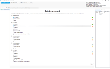 Screenshot of a Questionnaire screen within SystmOne showing a dermatology assessment