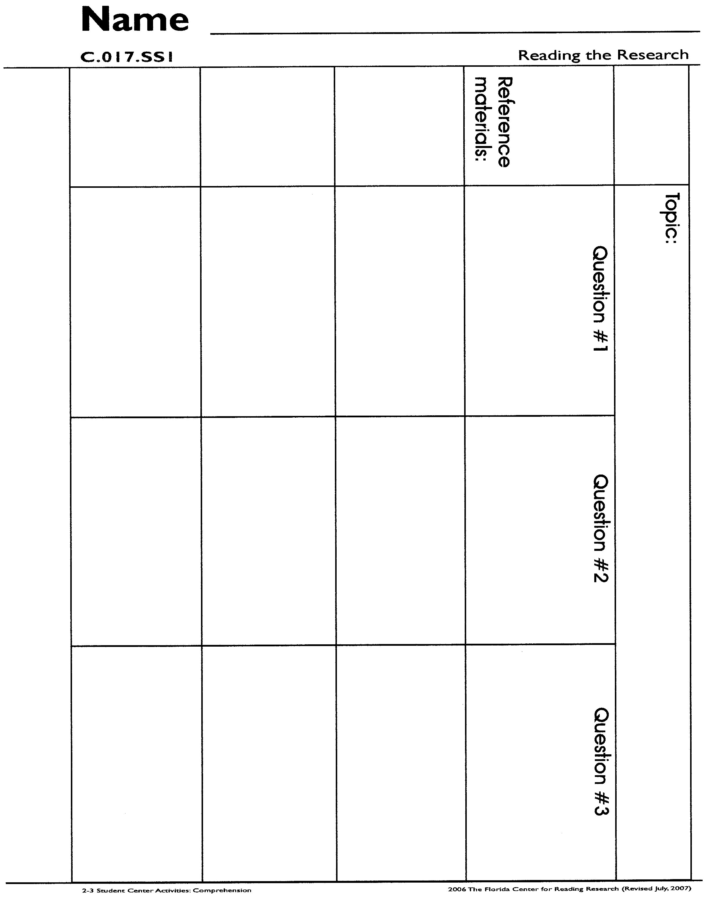 Observation Essay Graphic Organizer