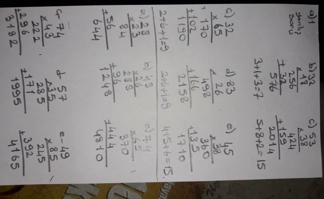 Aşağıdaki çarpma Işlemlerinde A B C Nin Değerini Bulunuz