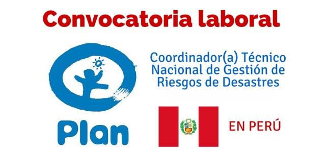 Fundación Plan busca en Perú Coordinador(a) Técnico Nacional de Gestión de Riesgos de Desastres