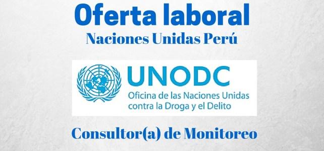 Trabaja con la Oficina de las Naciones Unidas contra la Droga y el Delito (UNODC) en Perú