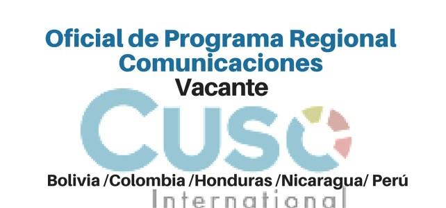 Vacante para  Oficial de Programa Regional de comunicaciones