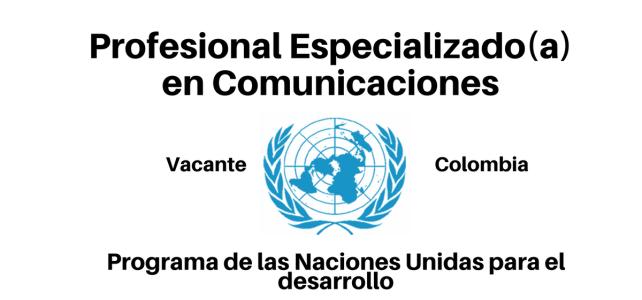 Vacante Profesional Especializado(a) en Comunicaciones con el PNUD