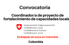 Convocatoria coordinador/a de proyecto – Embajada de suiza en Colombia