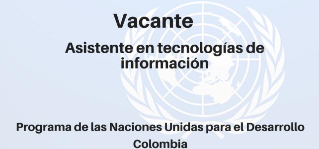 Vacante Asistente en Tecnologías de información con el PNUD