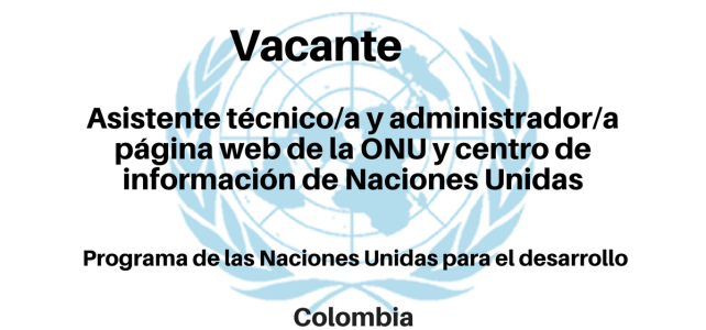 Vacante Asistente técnico/a  y administrador/a página web de la  ONU y centro de información de Naciones Unidas