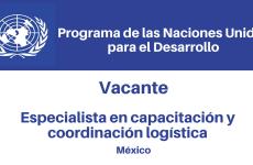 Vacante Especialista en capacitación y coordinación logística PNUD