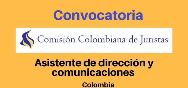 Convocatoria Asistente de dirección y comunicaciones Comisión Colombiana de Juristas