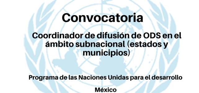 Convocatoria Coordinador de Difusión de ODS en el ámbito subnacional (estados y municipios) PNUD