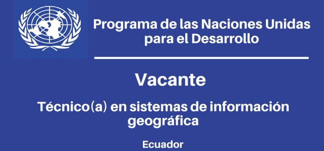 Vacante Técnico(a) en Sistemas de Información Geográfica PNUD