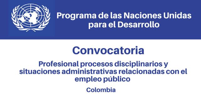 Convocatoria Profesional Procesos Disciplinarios y Situaciones Administrativas Relacionadas con El Empleo Público PNUD