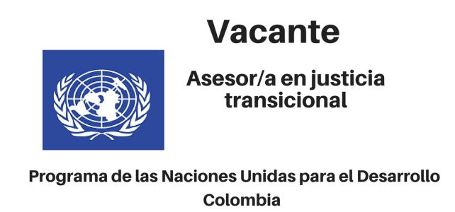 Vacante Asesor/a en Justicia Transicional PNUD