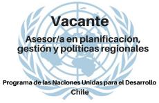 Vacante Asesor/a en planificación, gestión y políticas regionales PNUD