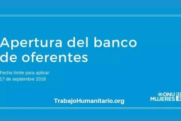 ONU MUJERES Apertura del banco de oferentes